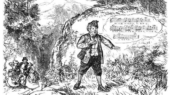 Satire d'homme qui heurte les oreilles de promeneurs par son Yodeling