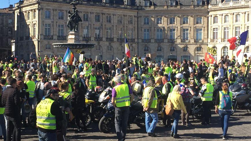 La place de la Bourse, point habituel de rassemblement des gilets jaunes à Bordeaux.