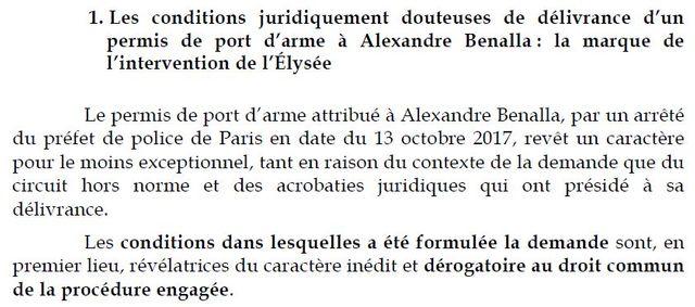 Extrait du rapport de la commission d'enquête sénatoriale sur l'affaire Benalla.