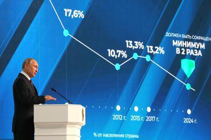 Vladimir Poutine pendant son discours à la nation, mercredi 20 février 2019 à Moscou, largement consacré aux questions économiques et sociales.