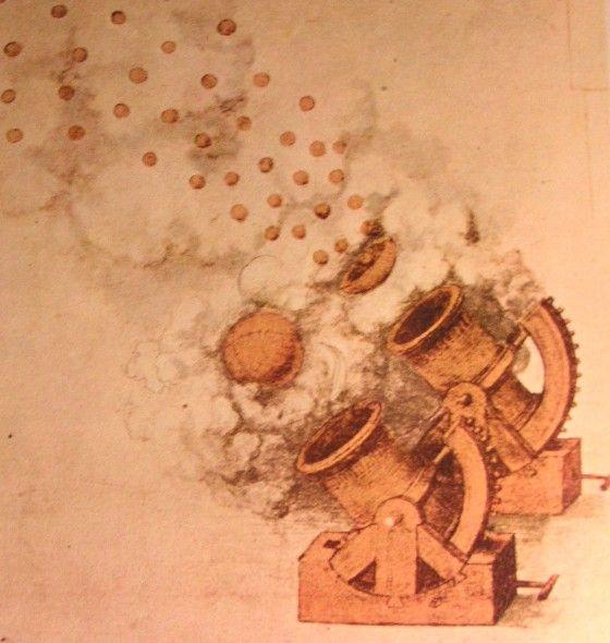 Etude pour un canon par Léonard de Vinci