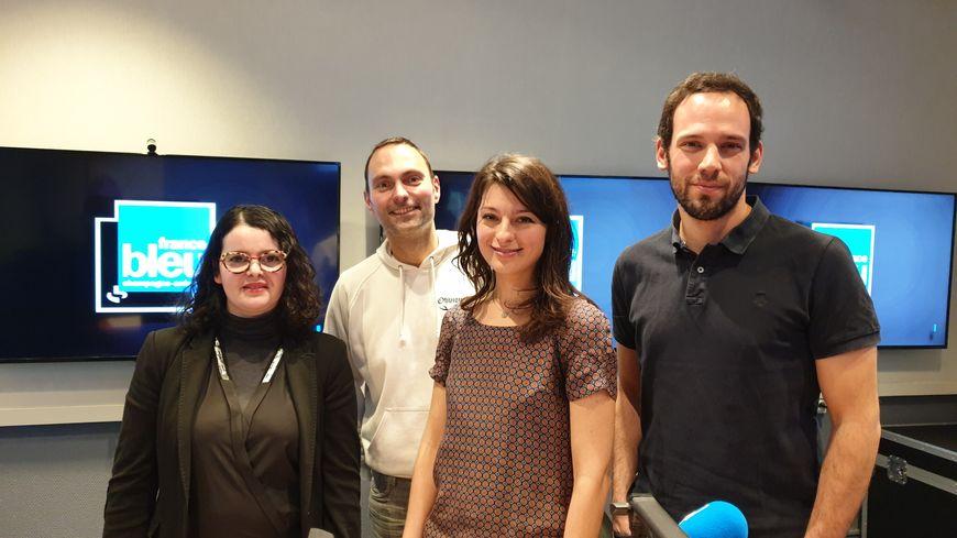 Amina Galliano d'Agrosolutions, Flora Schmitlin du programme Harmony Mondelez, Valentin Bodié agriculteur, avec Olivier Cattiaux