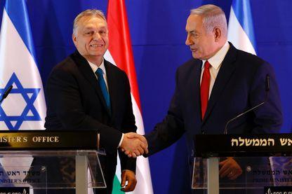 Le premier ministre israélien Benjamin Netanyahu recevant ce 19 février lson homologue hongrois Viktor Orban