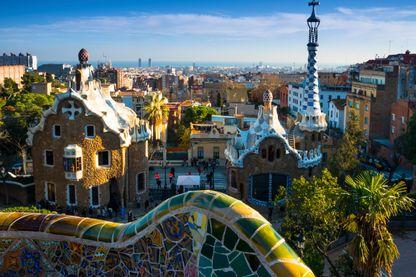 Vue du parc Güell à Barcelone, créé par Gaudi entre 1900 et 1914