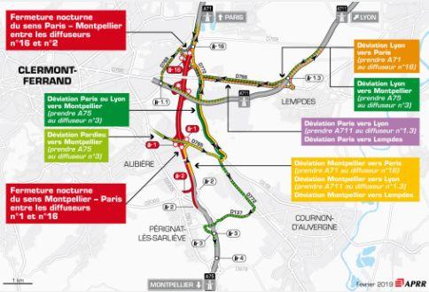 Le plan des travaux pour les nuits du lundi 18 et du mardi 19 février