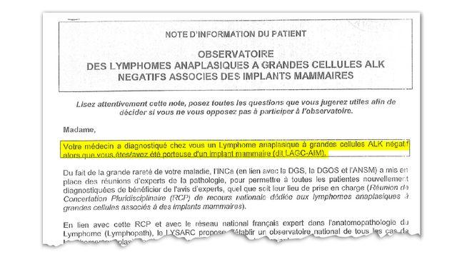 Extrait d'une note d'information de l'Observatoire des lymphomes anaplasiques à grandes cellules associés à des implants mammaires, adressée aux patientes concernées par ce cancer.