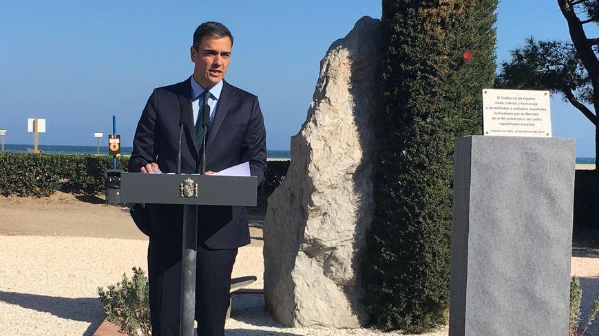 Pedro Sanchez dévoile une plaque commémorative au monolithe d'Argelès-sur-Mer