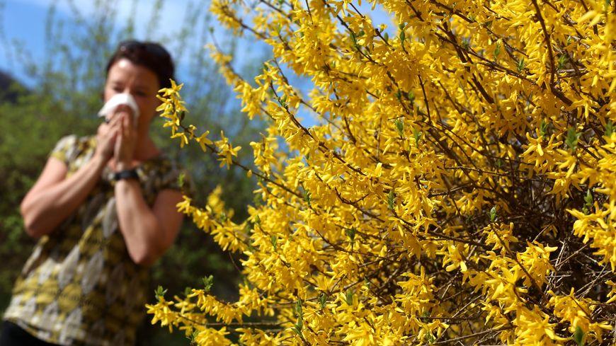 Une femme allergique aux pollens se mouche dans un mouchoir en papier.