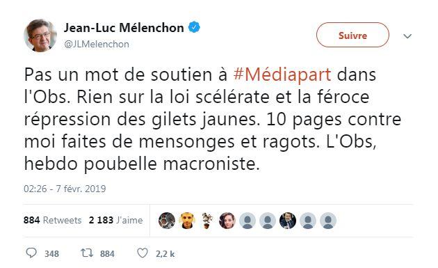Tweet de Jean-Luc Mélenchon (capture d'écran du compte @JLMelenchon le 8 février à 10h44)
