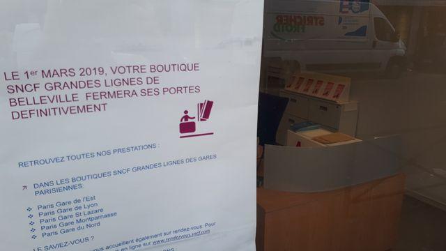 La boutique SNCF de la rue de Belleville ferme, il en reste une dizaine à Paris
