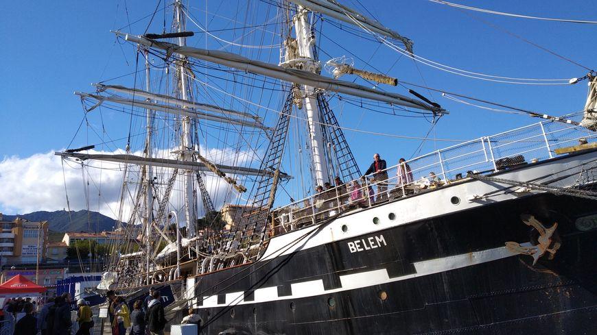 Le Belem à quai à Port-Vendres