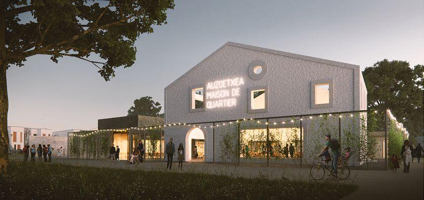 Le projet de Maison de quartier dessiné par le cabinet d'architecte V2S, chemin Loustaounaou.