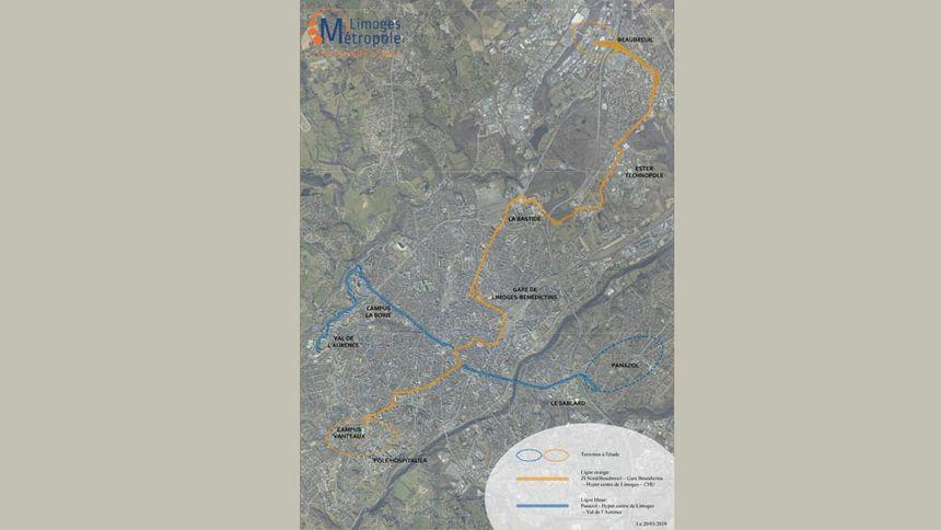 Le plan des deux futures lignes qui traverseront l'agglomération de Limoges du Nord au Sud et d'Est en Ouest
