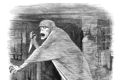 Gravure vintage d'un dessin satirique sur les meurtres de Jack l'éventreur dans le Londres victorien. 1888