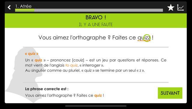 L'un des écrans de l'application Projet Voltaire