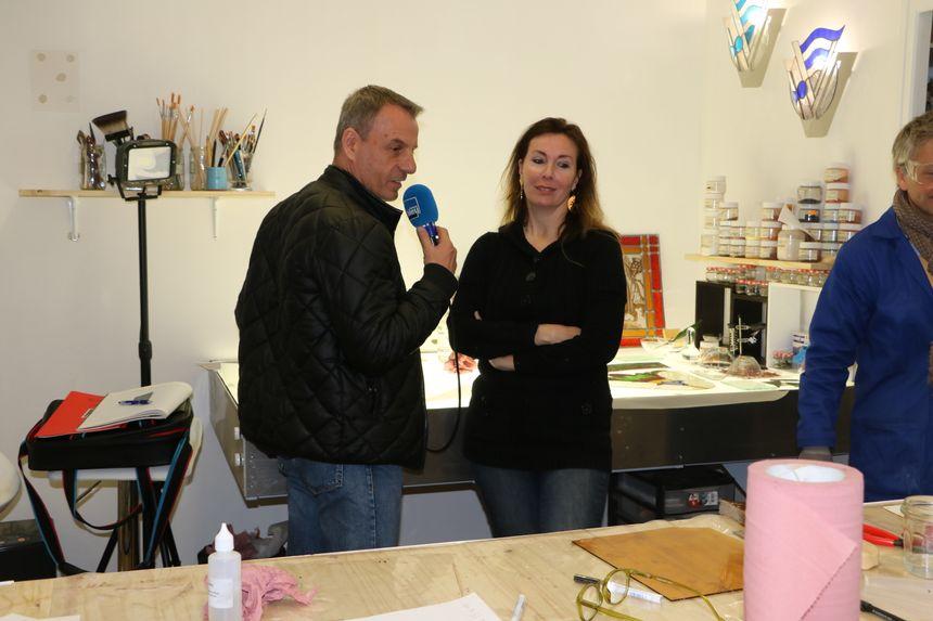 Dans l'Atelier de Nathalie Falaschi créatrice et restauratrice de vitraux à Russan Sainte Anastasie