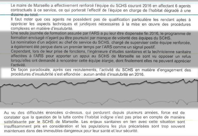 Pré rapport de l'ARS en septembre 2018 sur l'habitat insalubre à Marseille