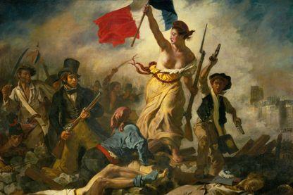 """""""La Liberté guidant le peuple"""", huile sur toile d'Eugène Delacroix réalisée en 1830, inspirée de la révolution des Trois Glorieuses."""