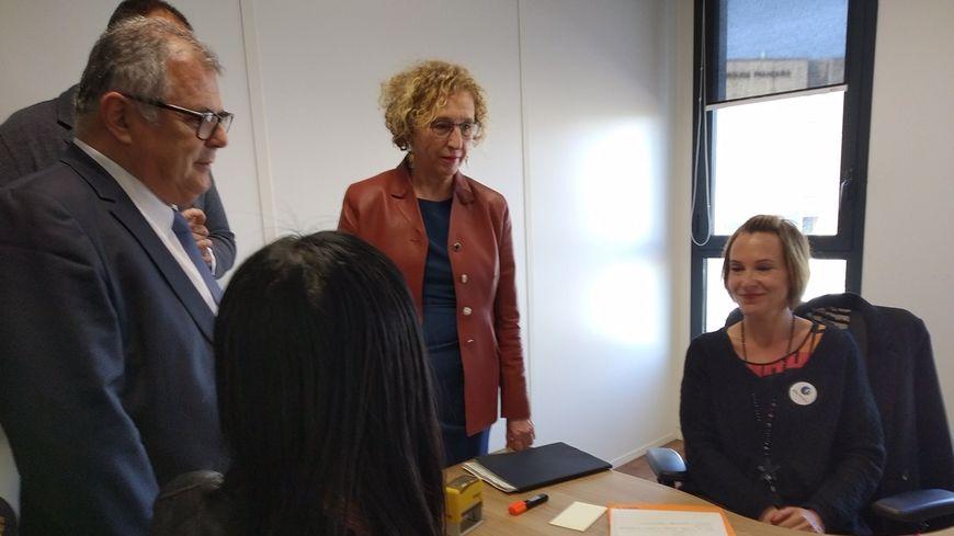 Muriel Pénicaud, Ministre du Travail à l'agence Pôle emploi de Saint-Assiscle de Perpignan