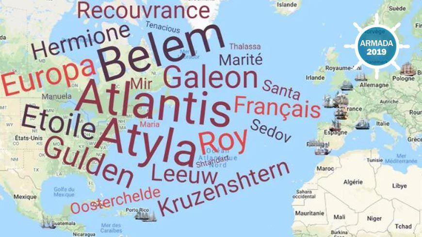 La carte de position des bateaux de l'Armada 2019 avant leur arrivée à Rouen.