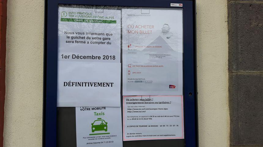 La gare de Massiac dans le Cantal, fermée il y a quatre mois