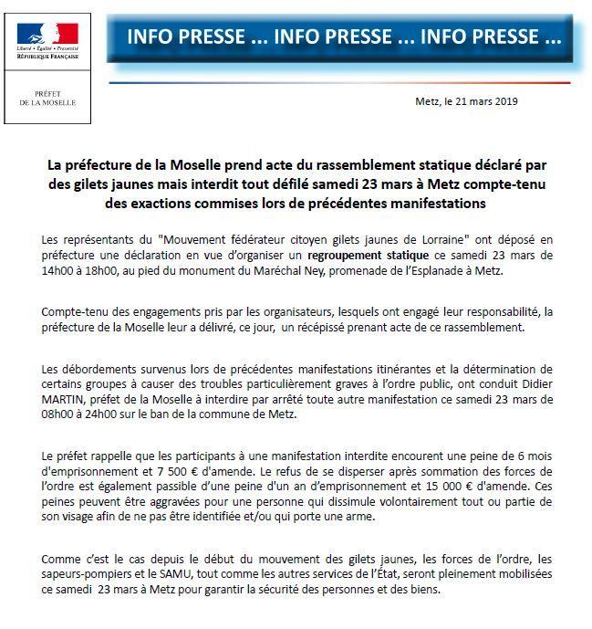 L'arrêté préfectoral publié jeudi autorise un rassemblement statique à Metz samedi, mais pas de défilé dans les rues