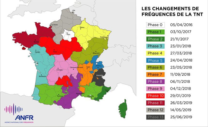 La carte de changement des fréquences de la TNT