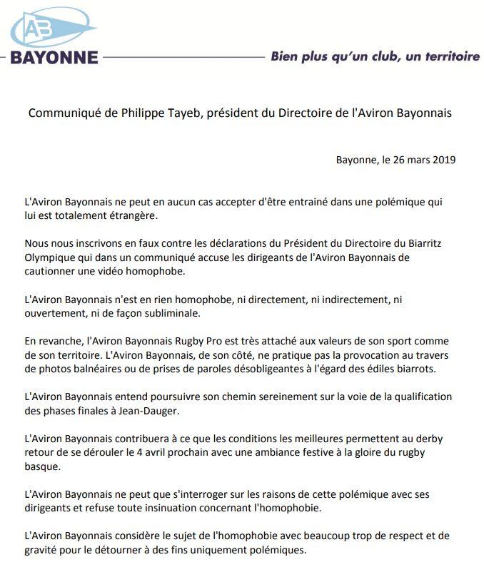 La réponse de l'Aviron Bayonnais