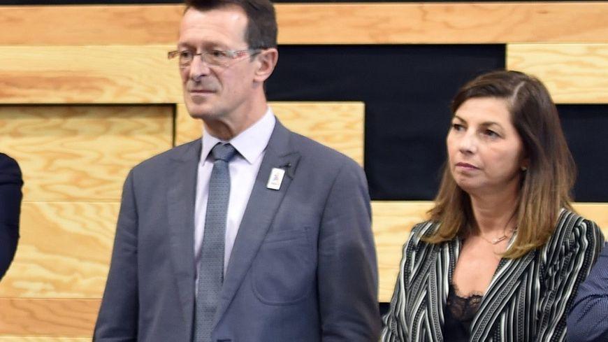 Sophie Rotkopf, aux côtés du vice-président du Conseil départemental de la Loire, Jean-Yves Bonnefoy.