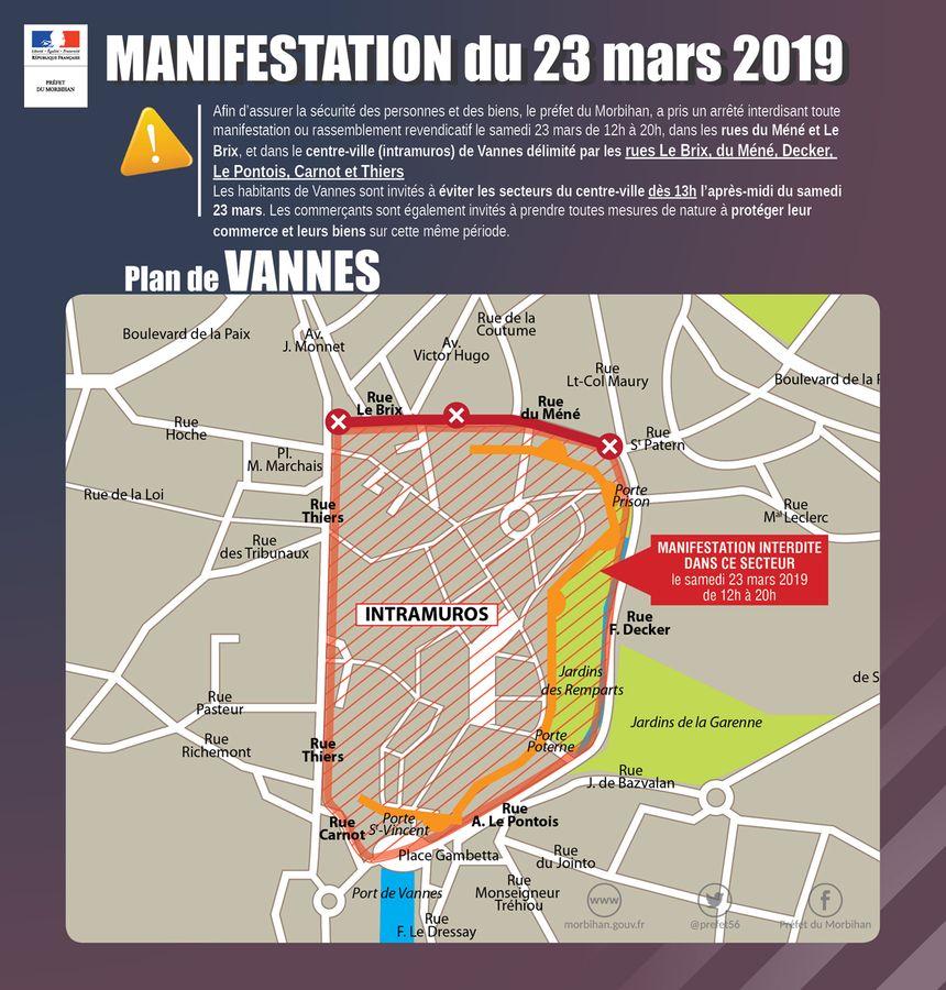 La préfecture du Morbihan a interdit un vaste secteur à toute manifestation.