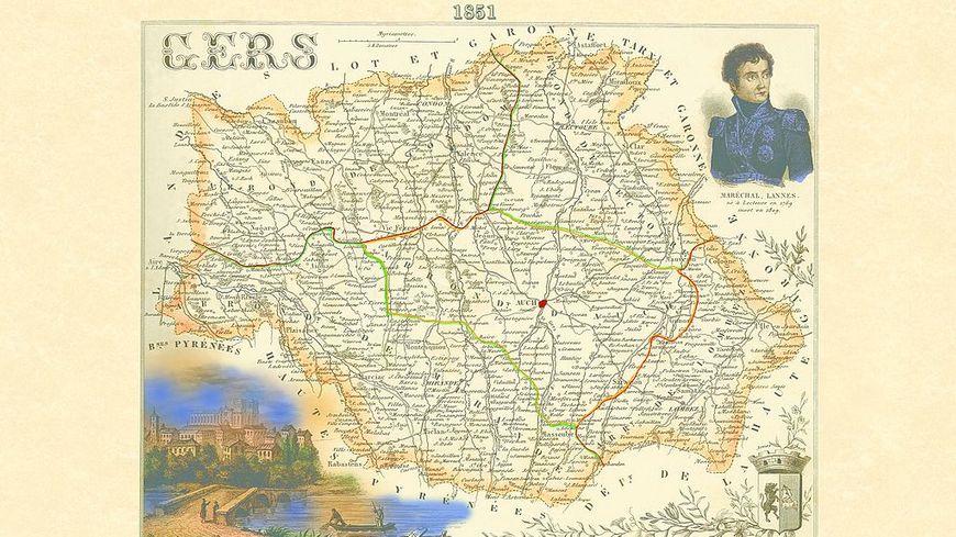 carte du Gers en 1851