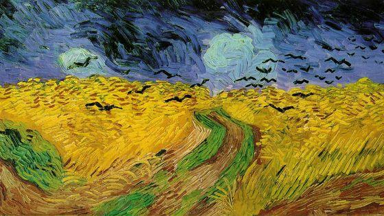 """Vincent Van Gogh Champ de blé avec corbeaux (1890) / 2006, Edith Canat de Chizy compose """"Omen"""" pour orchestre- Musicopolis DP"""