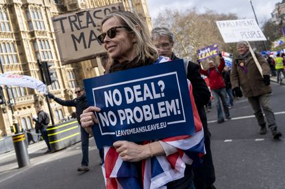 """Des partisans du Brexit et d'une sortie de l'UE sans accord (""""no deal"""") manifestent à Londres devant le parlement, avant un vote sur cette option le 13 mars 2019."""