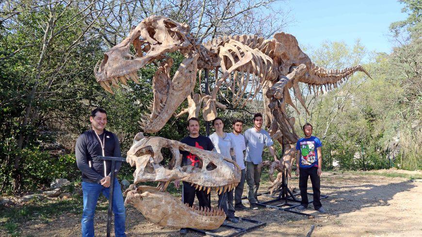 Le Tyrannosaurus Rex et l'équipe de montage dans les jardins du muséum d'Ardèche de Balazuc