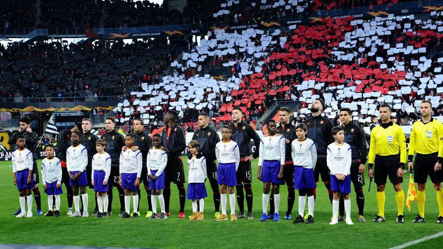Les joueurs du Stade Rennais lors du match aller au Roazhon Park.