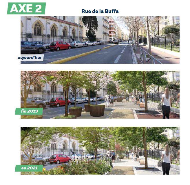 Évolution de la rue de la Buffa durant le plan de végétalisation