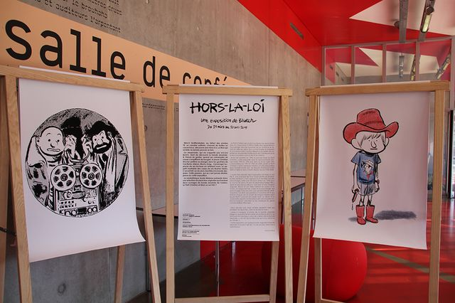 Dans la médiathèque André Malraux à Strasbourg, l'exposition Hors-la-loi met en avant  le travail de Blutch de jeunesse, et la BD Tif et Tondu à venir