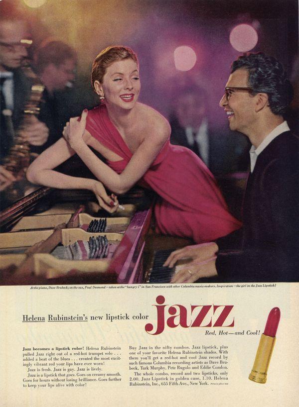 Red, Hot and Cool, publicité pour le rouge à lèvres Jazz avec Dave Brubeck et Suzy Parker Photo Richard Avedon, 1955