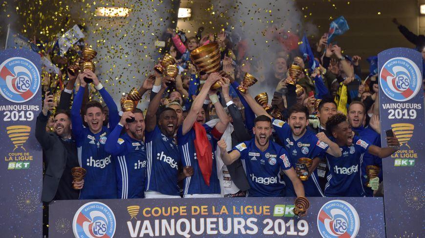 Les footballeurs strasbourgeois remportent la Coupe de la Ligue 2019.