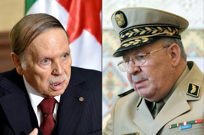 Portraits du président algérien Abdelaziz Bouteflika (à gauche) et du général Ahmed Gaïd Salah (à droite)