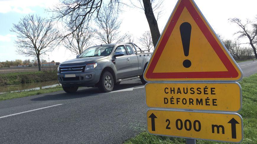 La RD10, à la sortie de Chaillé-les-Marais, lundi 11 mars.