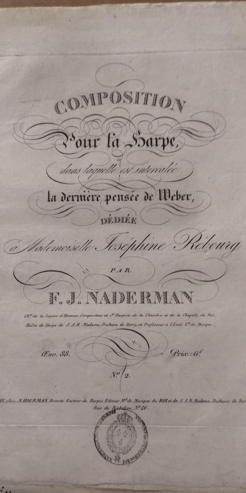 Une partition, composée et éditée par l'un des fils du luthier Naderman