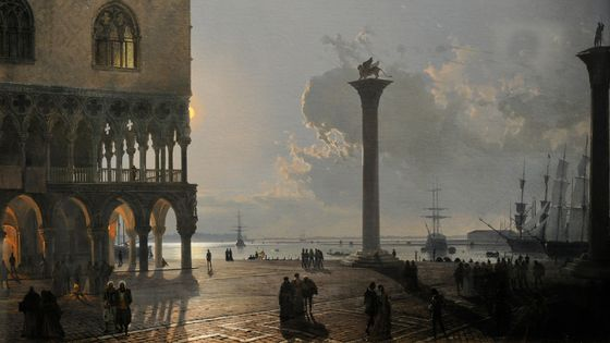 Piazzetta di San Marco au clair de lune, 1842 par Friedrich Nerly , © Getty / PHAS / Contributeur / Universal Images Group