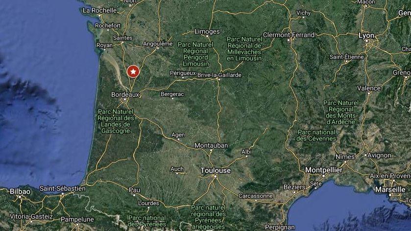 L'épicentre du séisme, au nord de Bordeaux.