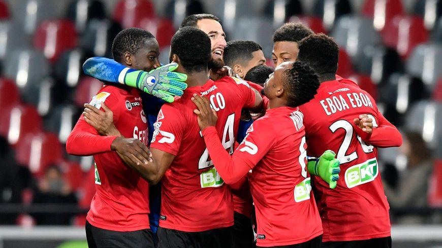 Les Guingampais lors de la victoire face à Angers en Coupe de la Ligue.