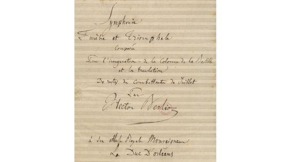 Partition manuscrite (en partie autographe) de la Symphonie Funèbre et Triomphale. Composée en 1842 par Hector Berlioz (détail)