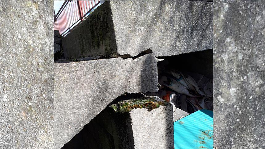Muret qui se casse à la suite des mouvements de terrain à Rosny-sous-Bois