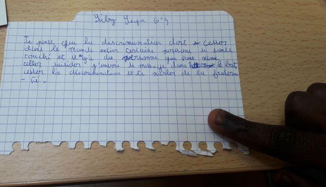 La lettre de Siby Sega pour la carte de la fraternité