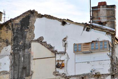 Les restes d'un immeuble détruit rue d'Aubagne à Marseille. Novembre 2018.