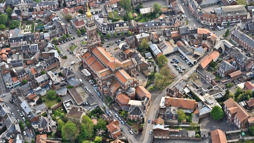 Albert, vue aérienne de la commune
